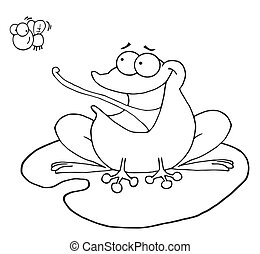 Outlined Frog Catching Fly - Outlined Frog On A Lilypad,...