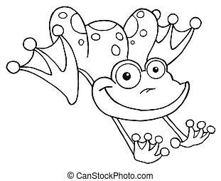 Royalty-Free Vector Clip Art Illustration of an Outline Of A Leaping Orange Frog