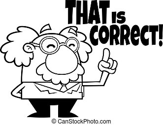 Outlined Funny Science Professor Cartoon Character Pointing
