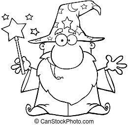 Outlined Funny Wizard Waving With Magic Wand