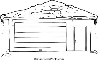 Outlined Garage and Door with Snow