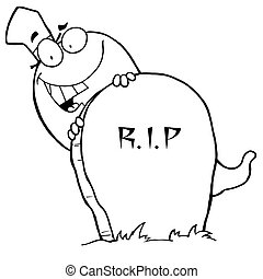 Outlined Ghost and Grave Stone - Cartoon character happy ...