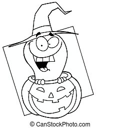 Outlined Ghost in Pumpkin