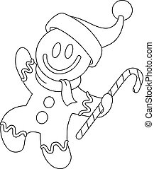 outlined gingerbread man with santa hat
