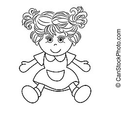 Outlined girl doll toy