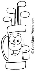 Outlined Golf Bag Cartoon Character