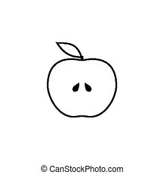 Outlined half of apple icon