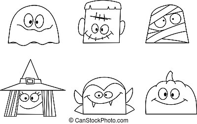 Outlined halloween faces