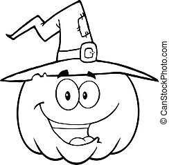 Outlined Halloween Pumpkin - Back And White Happy Halloween...