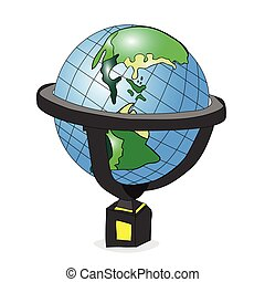 outlined, hand-drawn globe