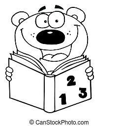 Outlined Happy Bear Reading A Book