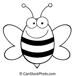 Outlined Happy Bee - Outlined Bee Mascot Cartoon Character