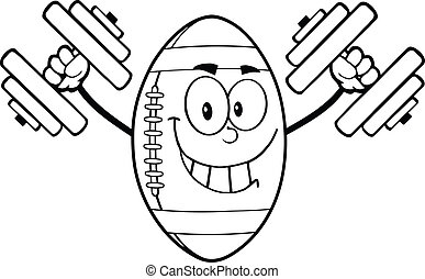 Outlined Happy Football Ball