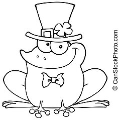 Outlined Happy Leprechaun Frog - Outlined St Patricks Day...