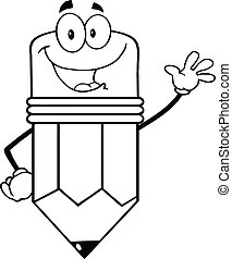 Outlined Happy Pencil Character Waving For Greeting