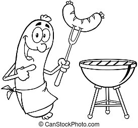 Outlined Happy Sausage With Sausage On Fork And Barbecue