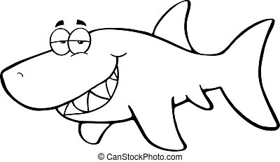 Outlined Happy Shark Cartoon Character