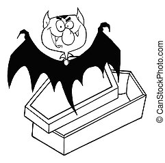 Outlined Happy Vampire
