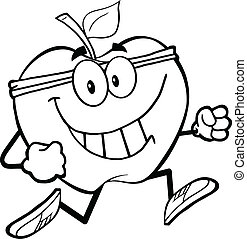Outlined Healthy Apple Jogging - Outlined Healthy Apple...