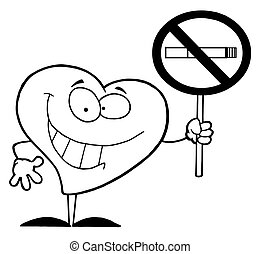 Outlined Heart Holding A No Smoking