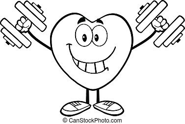 Outlined Heart With Dumbbells - Black And White Smiling...