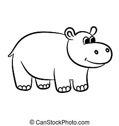 Outlined hippo vector illustration