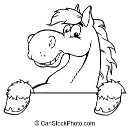 Outlined Horse Mascot Cartoon Head