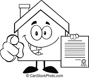 Outlined House Holding A Contract