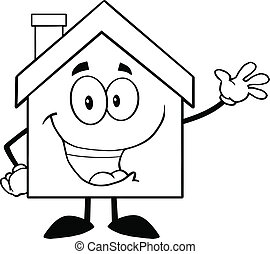 Back And White House Cartoon Mascot Character Waving For Greeting