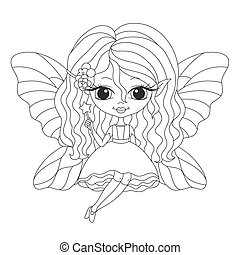 Outlined illustration of an adorable fairy