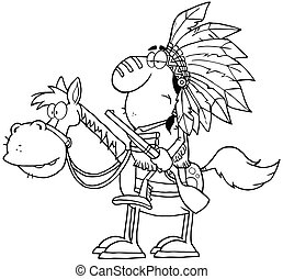 Outlined Indian Chief With Gun On Horse