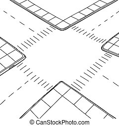 Outlined Intersection - Empty hand drawn street intersection...