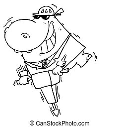 Outlined Jackhammer Hippo - Happy Hippo Worker Operating A...