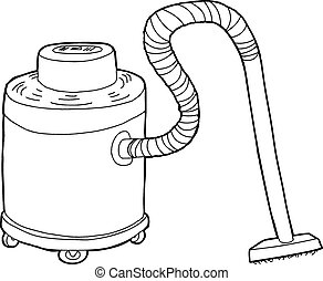 vacuum clipart black and white. outlined large vacuum single hand drawn clipart black and white