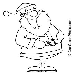 Outlined Laughs Santa - Coloring Page Outline Of Santa...