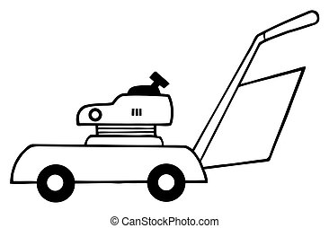 Outlined Lawn Mower - Coloring Page Outline Of  Lawn Mower