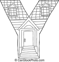 Outlined Letter Y House