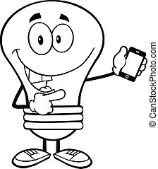 Outlined Light Bulb  Character
