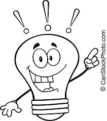 Outlined Light Bulb With Idea