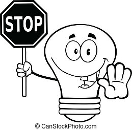 Outlined Light Bulb With Stop Sign