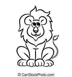 Outlined lion vector illustration