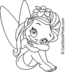 Outlined little fairy - Outlined illustration of a little ...