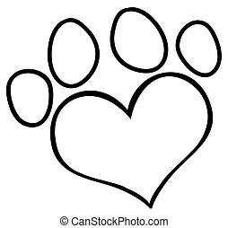 Outlined Love Paw Print - Outlined Heart Shaped Dog Paw...