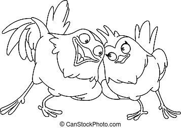 outlined loving birds