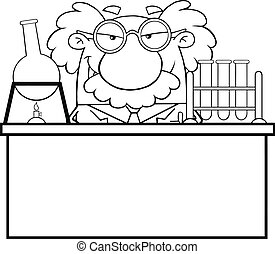 Black And White Mad Scientist Or Professor In The Laboratory