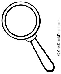 Outlined  Magnifying Glass Cartoon Character