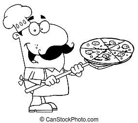 Outlined Male Pizzeria Chef - Happy Outlined Chef Carrying A...