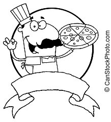 Outlined Male Pizzeria Chef