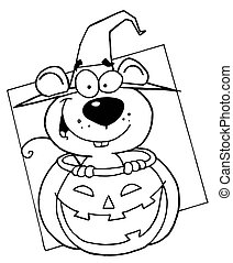 Outlined Mouse in Pumpkin