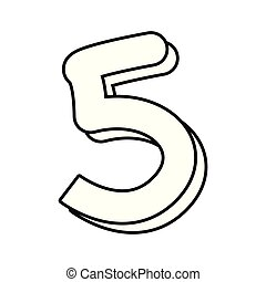 outlined number five on white background